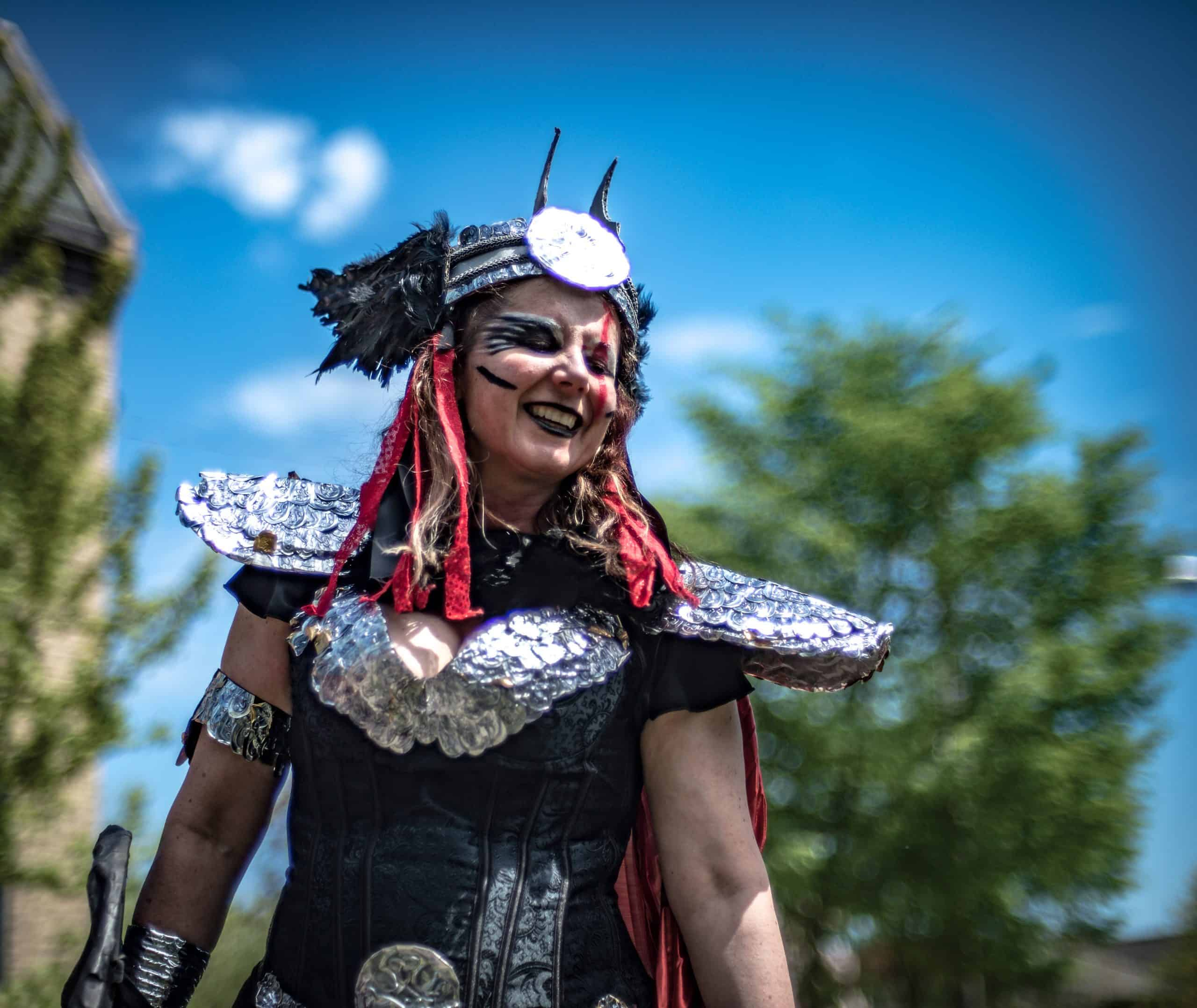 Valkyrie Bodice and helmet, designed for May Day Parade 2017. Photo credit: Max Haynes