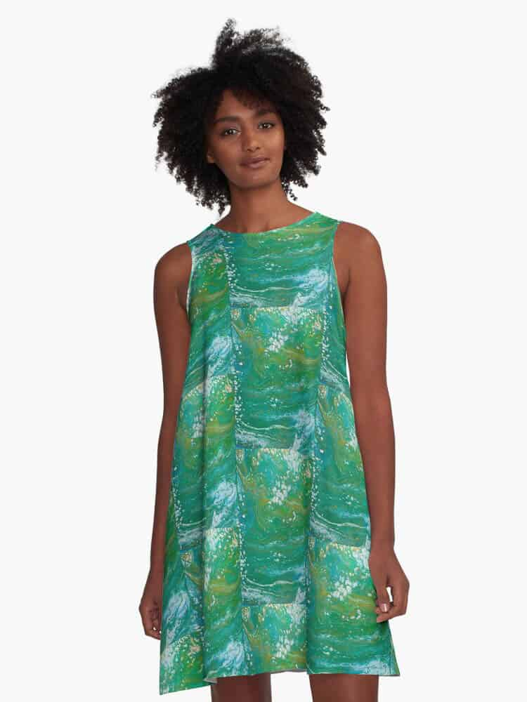 Digital design created from acrylic pour. 97% polyester, 3% elastane woven dress fabric with silky feel.