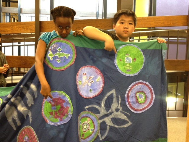 "Embroidery project from residency with Artstart and 4th graders. St. Paul students studied plants and animals along the Yangtze River and created a giant ""river"" for the Eco Arts Festival."